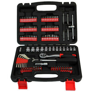 130pc Socket Tool Kit Screwdriver Bits Set With Ratchet And Spanner Handle Diy