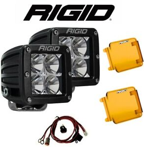 Rigid Dually D Series Pro Flood Beam Led Lights W Harness Amber Light Covers