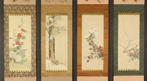 Mz5652 Japanese Hanging Scroll Kakejiku Flowers And Birds By Sakai Hoitsu