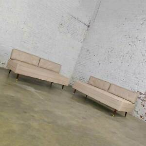 Mcm White Vinyl Faux Silk Look Daybeds Or Convertible Sofas Or Sectional A Pair