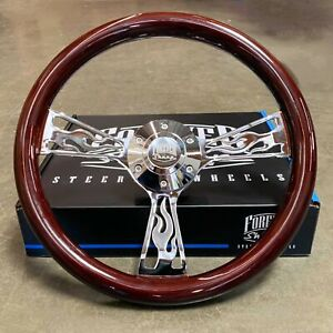14 Chrome Flame Steering Wheel Dark Wood Grip Chevy C10 Truck Hot Rod 6 Hole