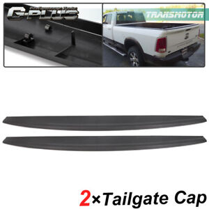 2pcs Tailgate Top Protector Cap Molding Cover Spoiler For 09 18 Dodge Ram 1500