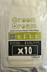 120 Micron Rosin Press Filter Bags Green Dream High Quality 3 x4 5 25 Pack