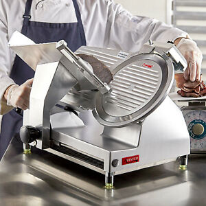 New 12 Commercial Manual Gravity Feed Electric Countertop Meat Slicer 1 2 Hp
