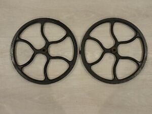 Lot Of 2 Antique Cast Iron Treadle Base Pulley Fly Wheel 12 1 2 Diameter