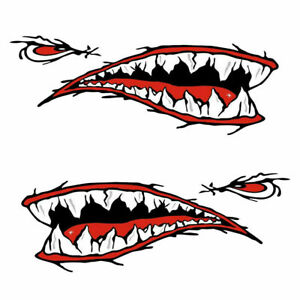 2pcs Shark Mouth Teeth Graphic Stickers Decal Kayak Car Side Door Fender
