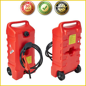 14 Gal Wheeled Fuel Gas Container Hand Pump Fluid Transfer 10 Feet Fuel Hose New