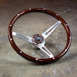 15 Deep Dish Steering Wheel Dark Wood Aluminum Rivets Horn Factory 2nd