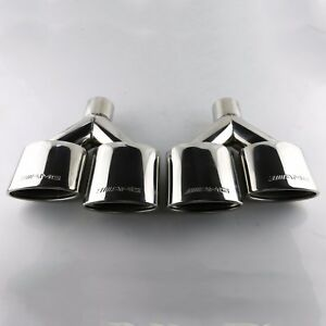 Amg Dual Universal Exhaust Stainless Steel Oval Exhaust Tips For Mercedes Benz