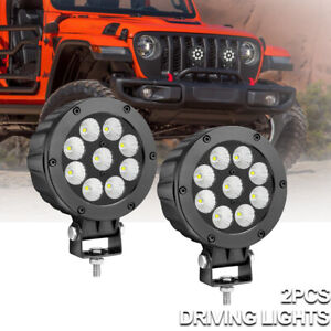 Pair 5 Inch Cree Round Led Fog Lights Driving Off Road Lamps For Jeep Wrangler