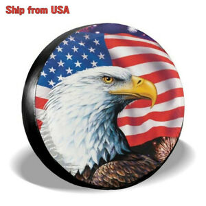 Spare Tire Cover 15 Usa Flag Eagle Waterproof Pvc For Jeep Wrangler Liberty Suv