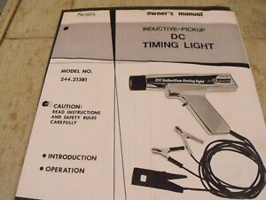 Vintage Owners Manuel For Sears Roebuck Co Dc Inductive Timing Light