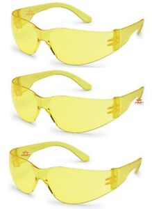 3 Pack pair Gateway Starlite Small Yellow amber Safety Glasses Sun Z87