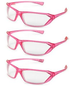 3 Pair pack Gateway Metro Pink Clear Safety Glasses Womens Crystal Z87