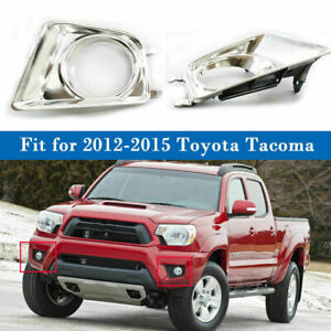 Us 2x Fog Light Grille Bezel Cover Chrome For Toyota Tacoma 2012 2013 2014 2015