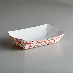 250 Pack 500 5 Lb 1 Compartment Disposable Red Check Paper Food Tray
