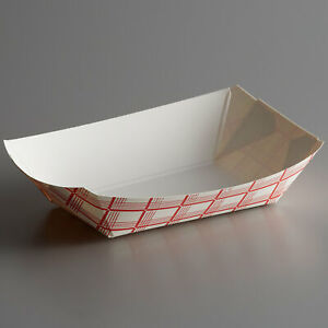 250 Pack 200 2 Lb 1 Compartment Disposable Red Check Paper Food Tray