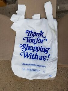 Mini Jumbo White Big Plastic Shopping Bag For Retail Grocery Store 15 X 8 X 27