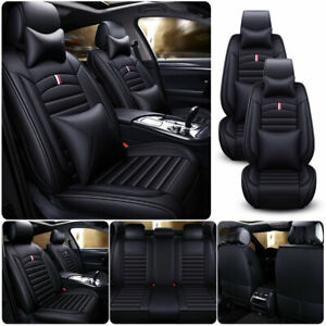 Pu Leather Black Car Seat Cover Full Set Protector Universal Suv 5 Seats Cushion