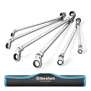 Duratech Extra Long Flex Head Double Box End Ratcheting Wrench Set Metric
