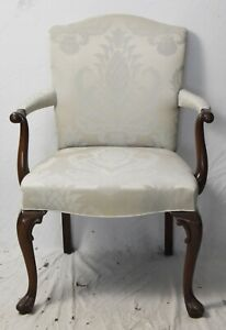Hickory Chair Co Mahogany Chippendale Arm Chair Silk Ivory Damask Fabric