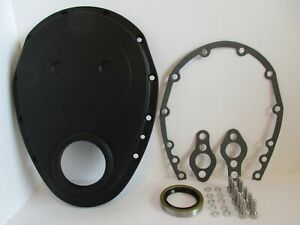 Small Block Chevy Black Aluminum Timing Chain Cover Sbc 283 327 350 6040blk kit