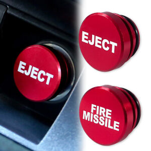 Universal Fire Missile Eject Button Car Cigarette Lighter Cover Aluminum 12v