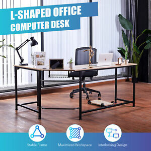 L Shaped Gaming Desk With Tower Shelf Cable Management 53x19 72x19 Side Oak Home