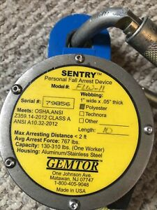 Sentry Gemtor Personal Fall Arrest Device Retractable 10 Ft Polyester Flw 11