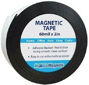 Adhesive Magnetic Strip Flexible Magnet Tape 2 inch X 10 feet X 1 16 Thick Very