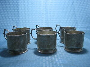 Vintage Persian Silver Plated Cup Holder Set Of 6