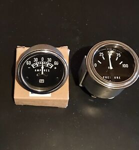 Original Vintage Stewart Warner Gauges Amperes Oil Pressure