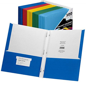 File ez Two pocket Folders With 3 prong Fasteners Assorted Colors 100 pack