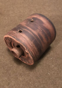 Antique Belt Pulley Leather Tractor Pto Wood Leather Metal Belt Pulley Repurpose