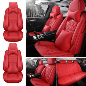 Pu Leather Red Car Seat Cover Protector Universal 5 Sits Suv Front Rear Full Set