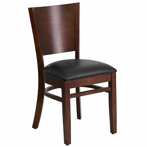 Flash Furniture Lacey Series Solid Back Walnut Wooden Restaurant Chair