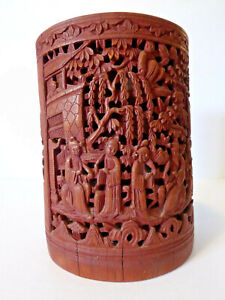 Antique Chinese Hand Carved Bamboo Wood Brush Pot