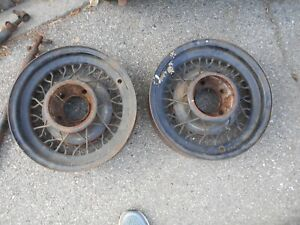 No Shipping Rare Vintage Pair 16 Acme Wire Wheels Ford 36 Bent Spoke Hot Rod