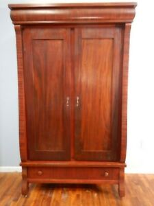 Large Antique Empire Revival Knockdown Armoire Wardrobe Cabinet Mahogany
