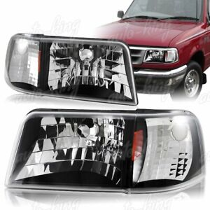 Fit 93 97 Ford Ranger Black Housing 1 piece Headlights W amber Reflector