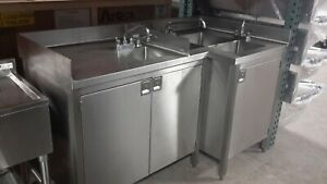 Used Custom Portable 3 Tank Sink With Hand Washing Sink