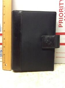 Preowned Franklin Covey Black Leather Nylon Planner