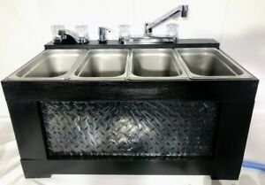 Black Portable Sink Concession Sink 3 Compartment Sink table Top