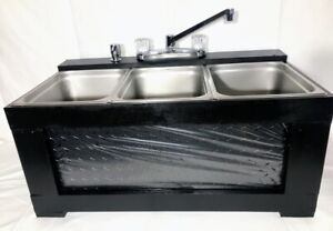 Black Portable 3 Compartment Concession Sink Large Basin Table Top used