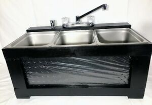Black Portable Sink Concession Sink 3 Compartment Sink Large Basin Table Top