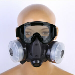 Half Face Gas Mask Dual Filter Cartridge Work Safety Chemical Respirator Glasse