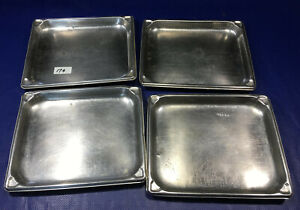 Lot 4 Half Size 1 Deep Stainless Steel Steam Table Pans Vollrath Super Pan 1 2
