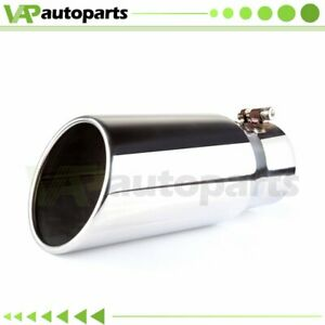 4 inlet 5 Outlet Stainless Steel 12 Long Diesel Bolt On Exhaust Tip Roll Edge