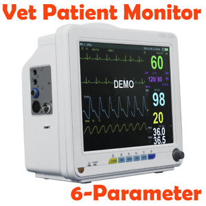 Portable 12 Veterinary Vet Patient Monitor Vital Signs Nibp Spo2 Ecg Temp Resp