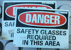Danger Safety Glasses Required Aluminum Sign 14x10 Warning Caution In This Area